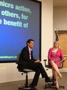 Derrick Feldmann and Kelley Lavin, publisher of Sarasota Magazine, talk onstage during the 2013 Fundraisers Forum on July 12